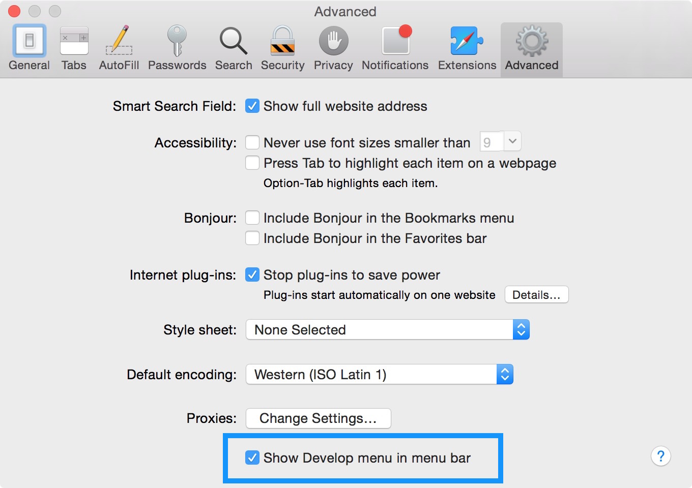 Enable Develop mode Safari