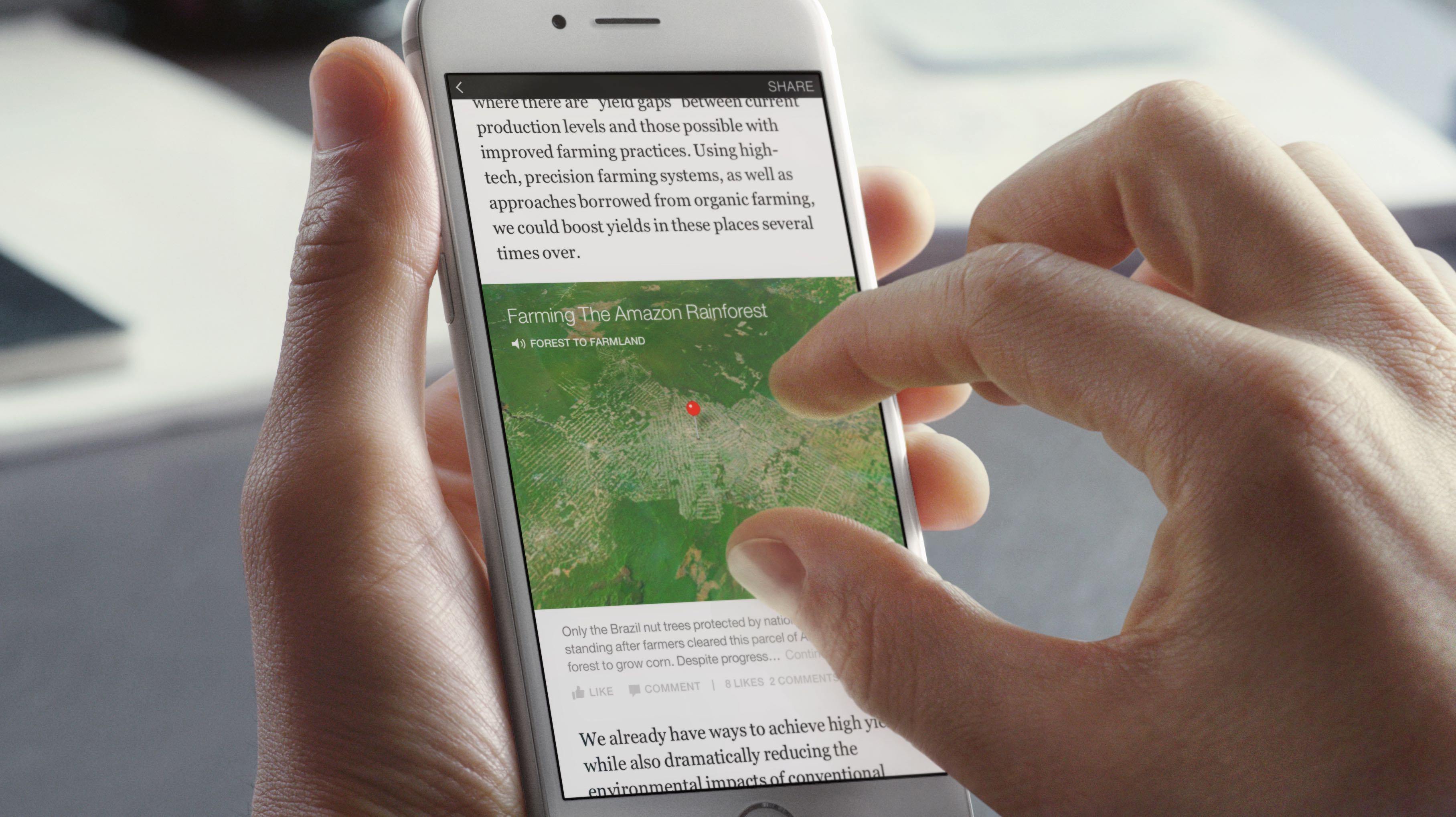 Mapa de artículos instantáneos de Facebook