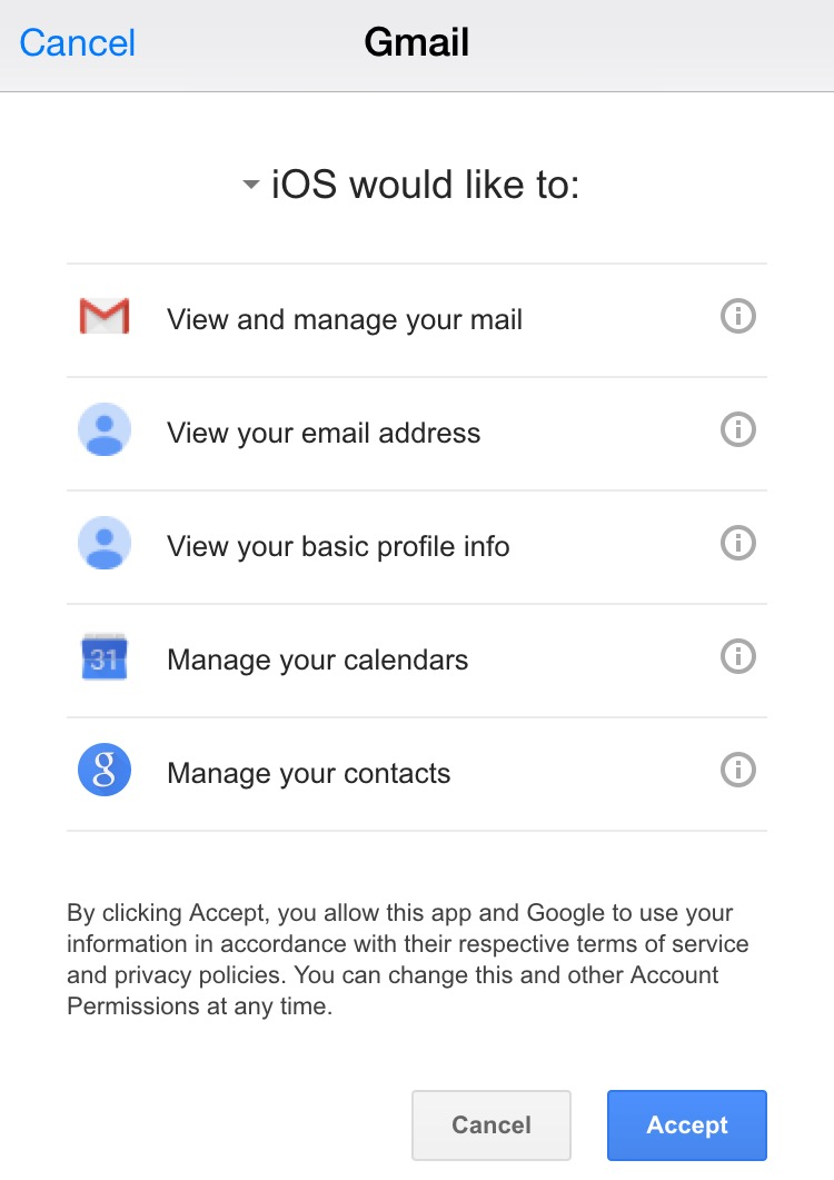 Gmail authorize iOS