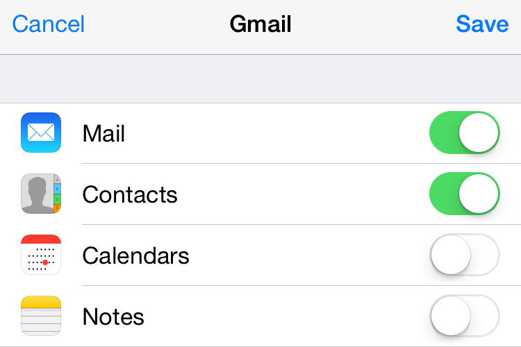 Google Contacts on iphone