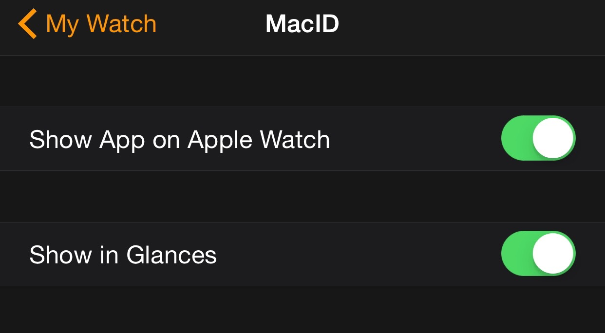 MacID Settings Apple Watch