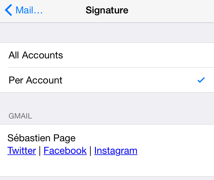 Paste HTML signature mail ios
