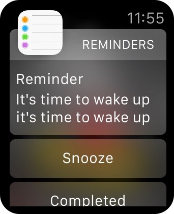 Reminders APple Watch Snooze