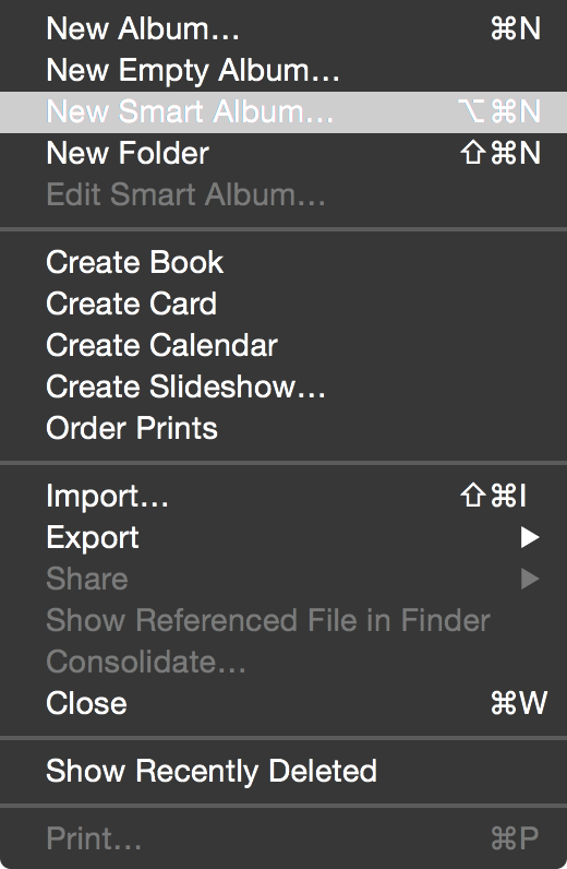 Smart Album Screenshot Filter Photos App FIle Menu