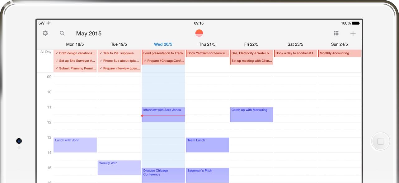 Captura de pantalla del iPad con integración Sunrise Wunderlist 001