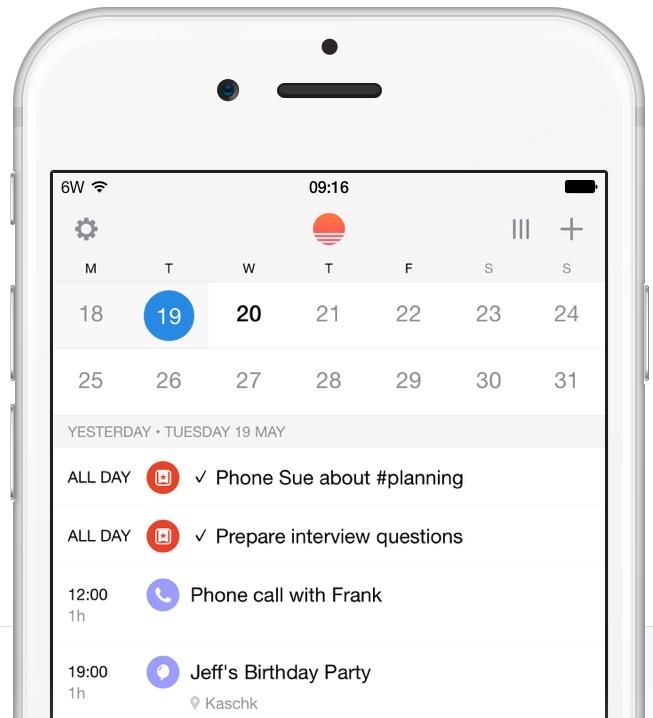 Sunrise Wunderlist integration iPhone screenshot 001