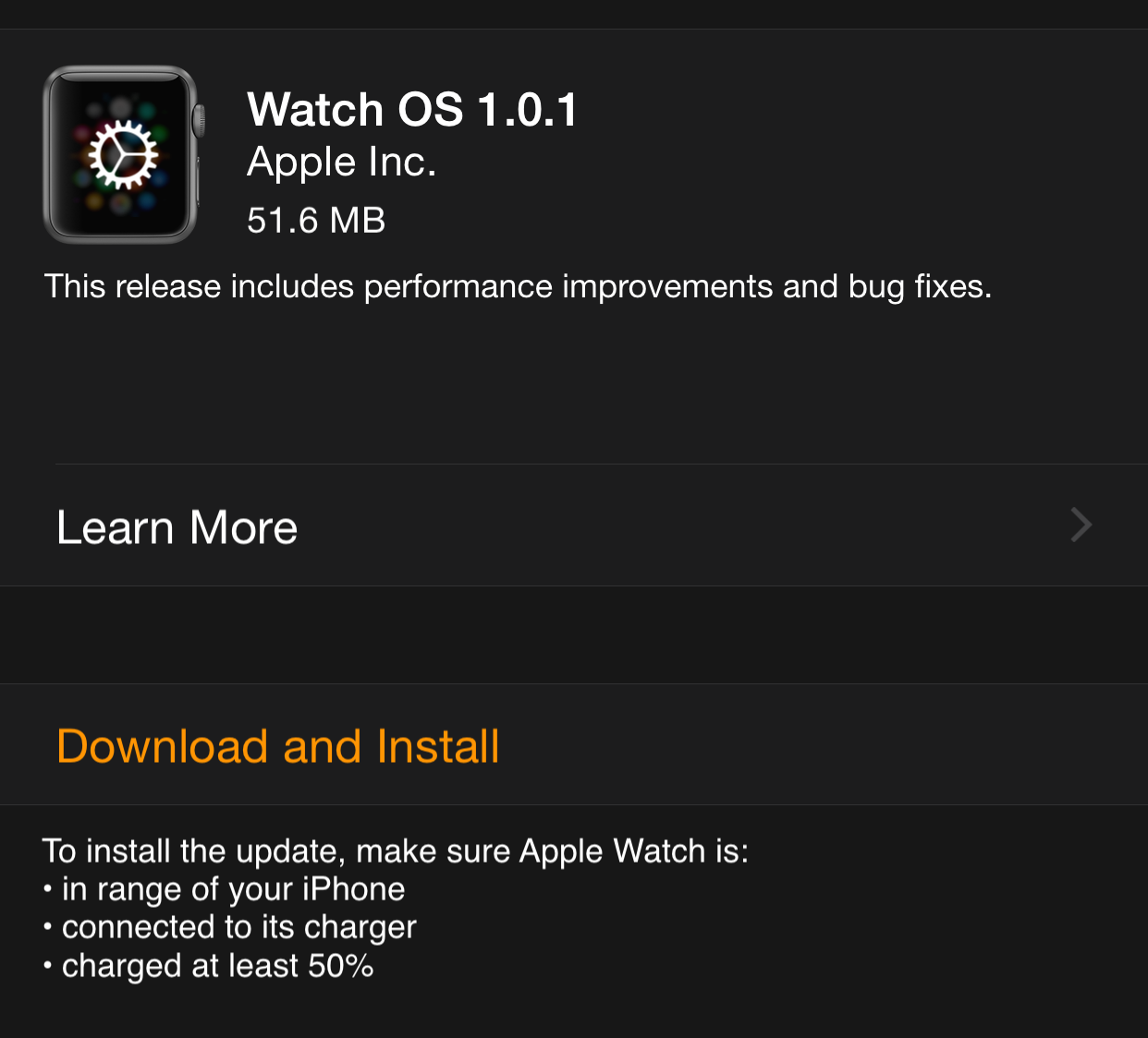 Watch OS 1.0.1 iPhone