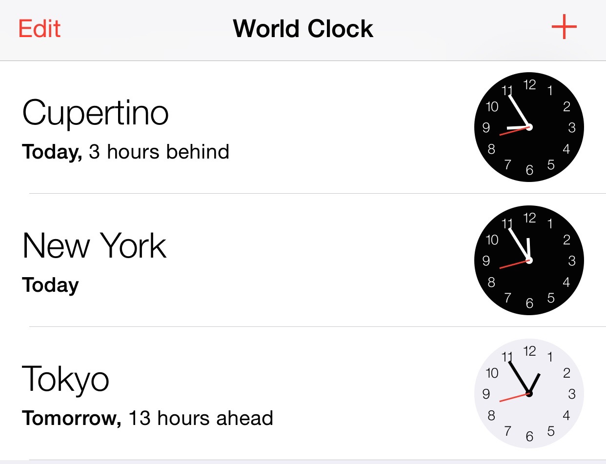 World Clock App iPhone