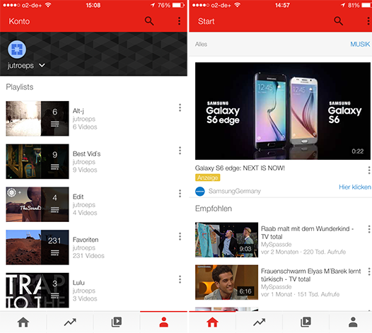YouTube iOS Material Design iPhone screenshot 001