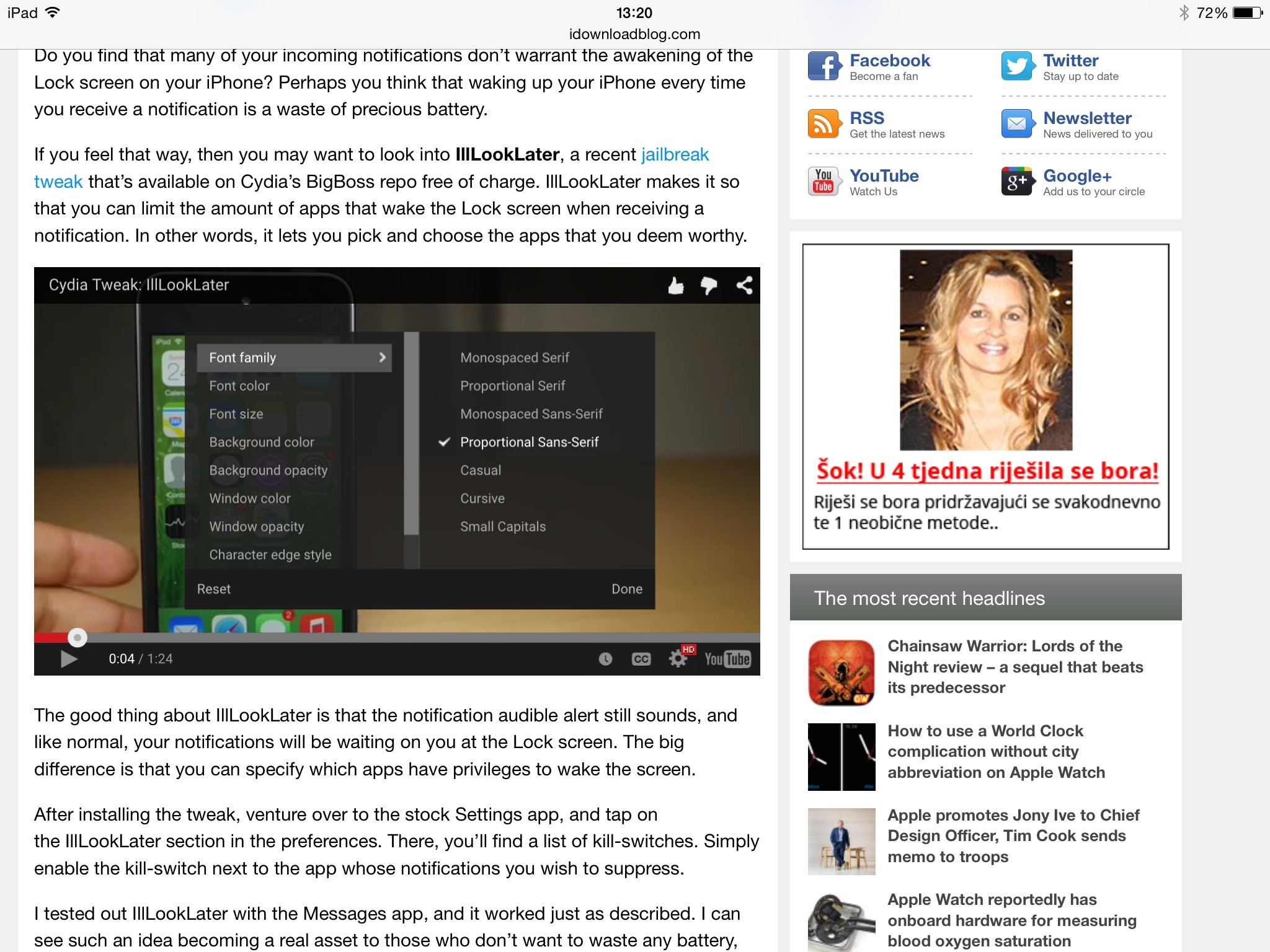 YouTube iOS player iPad screenshot 001