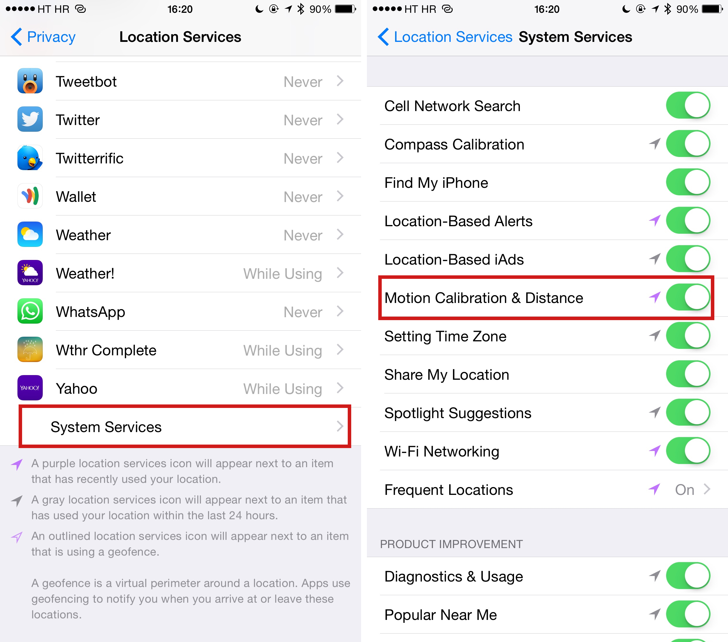 iOS 8 Settings Motion Calibration and Distance enabled