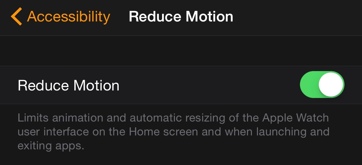 iPhone Apple Watch Reduce Motion