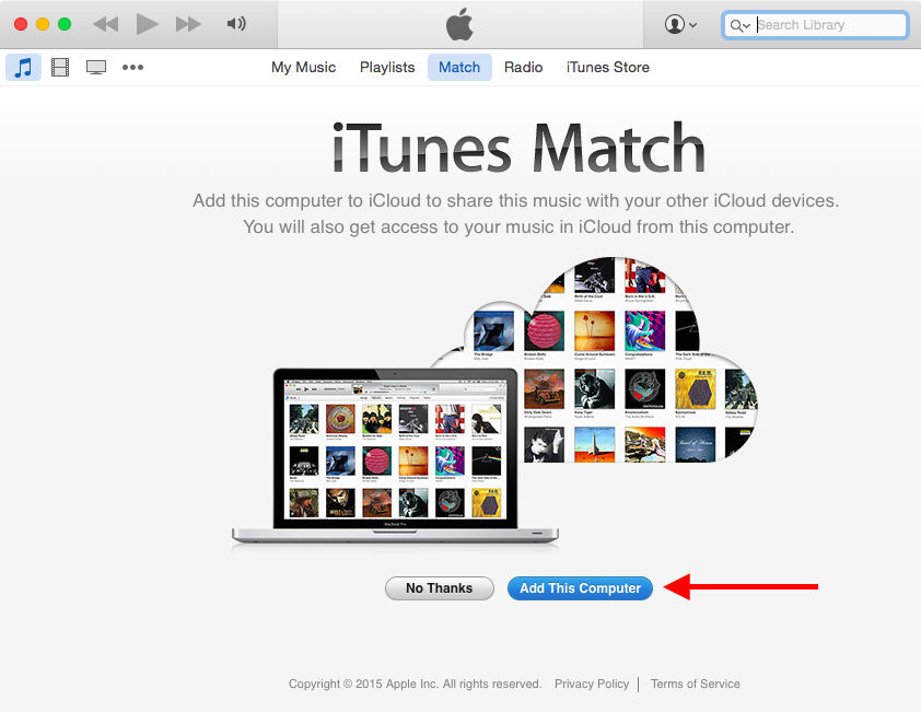 iTunes Match add this computer