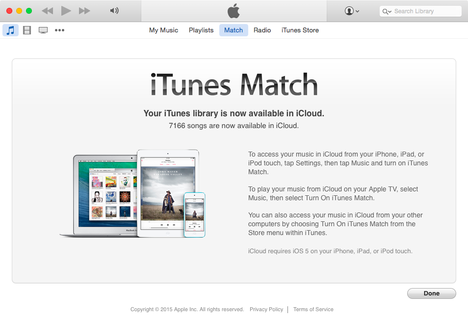 iTunes Match library available in iCloud