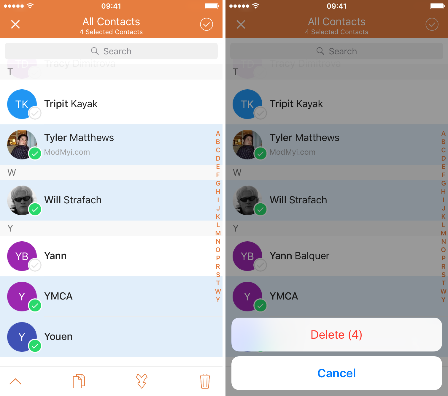 How to delete several contacts at the same time on iPhone