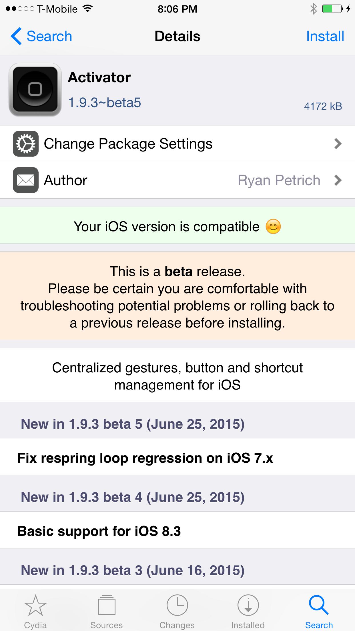Activator iOS 8.3