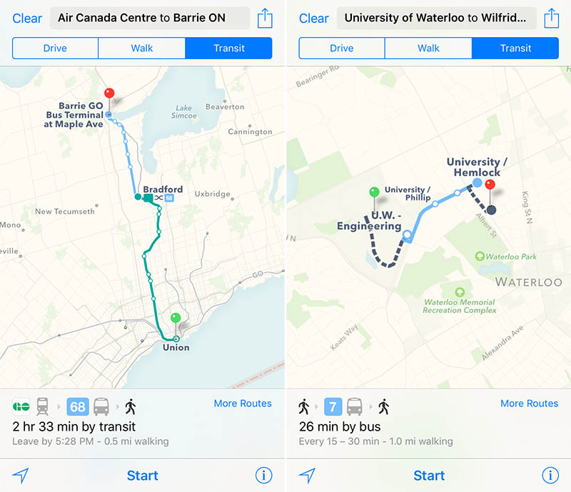 Apple Maps iOS 9 beta Transit Canada Waterloo Barrie MacRumors 001