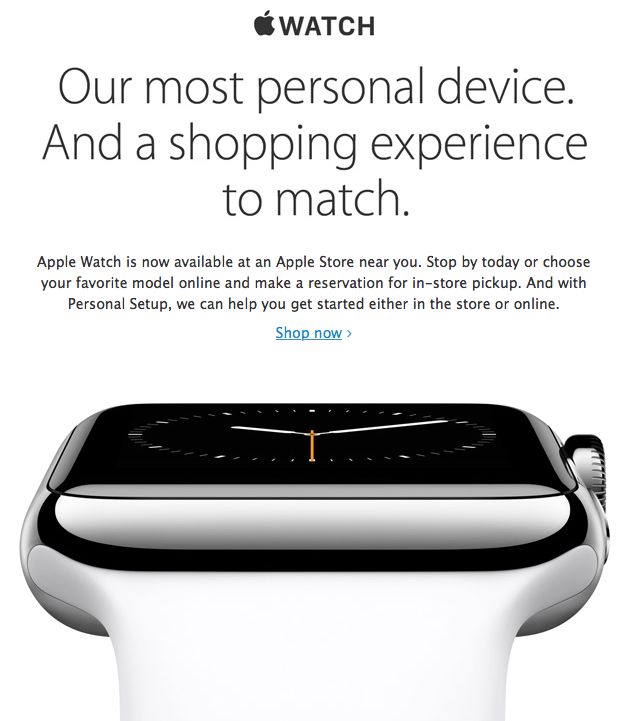 Apple Watch hits Apple Stores email screenshot 001
