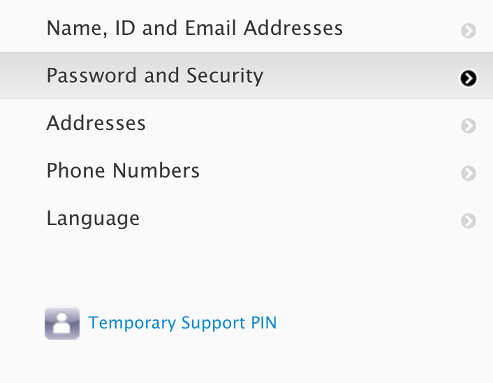 Appleid password and security temporary pin