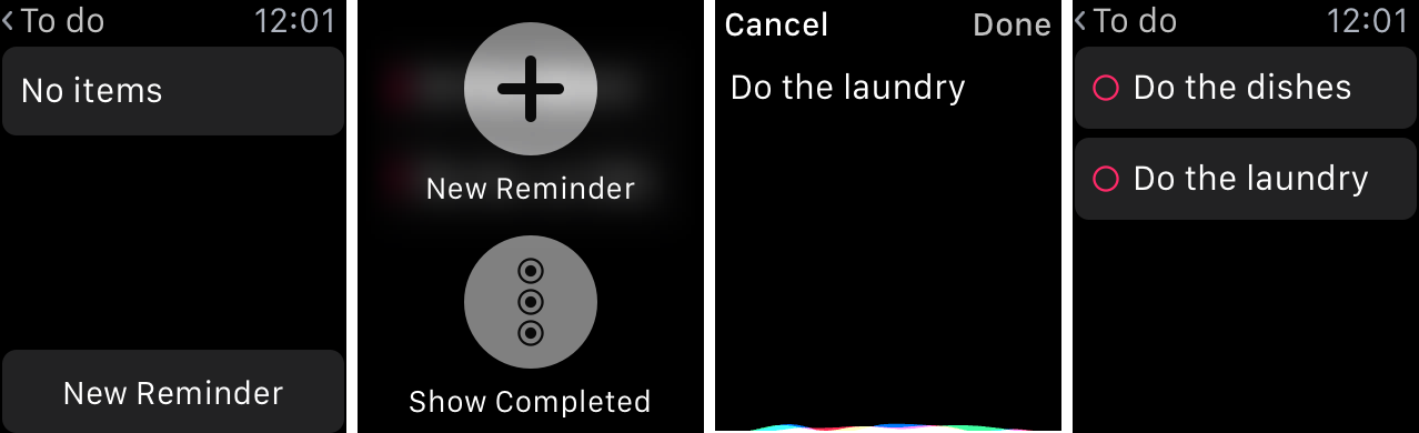 Create Reminders nano Apple Watch