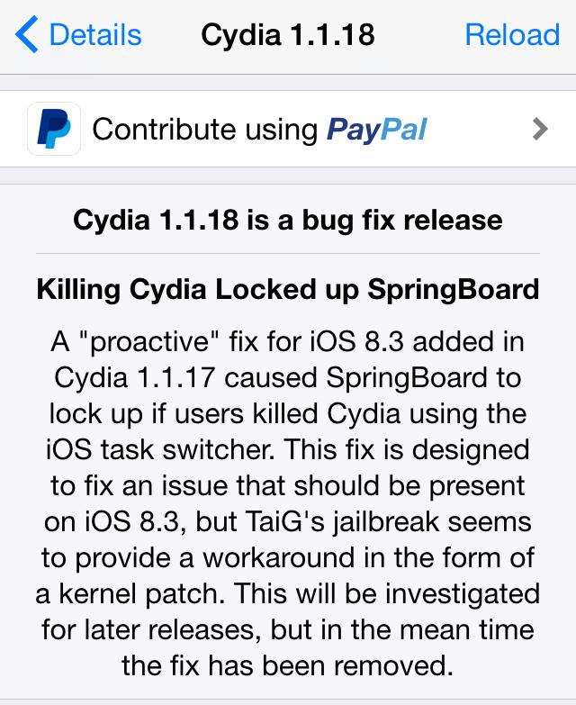 Cydia 1.1.18