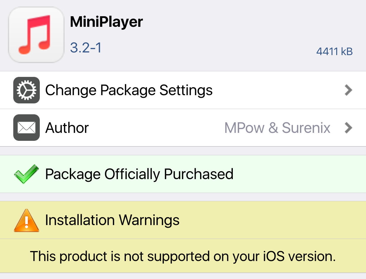 Cydia Installation Warning