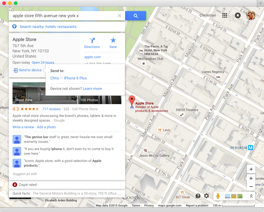 Google Maps desktop send to mobile device