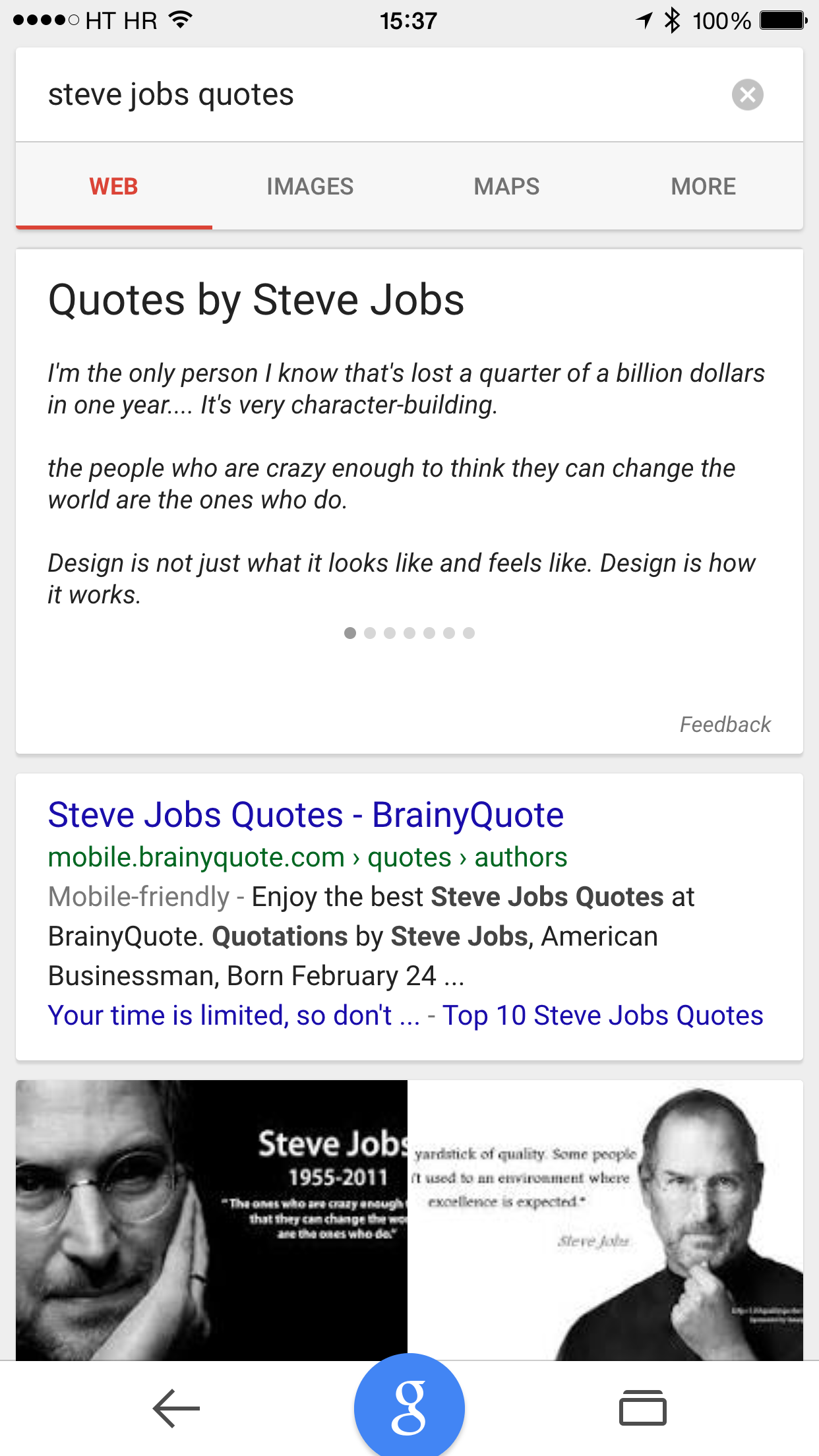 Google Search Quotes card in native iOS app