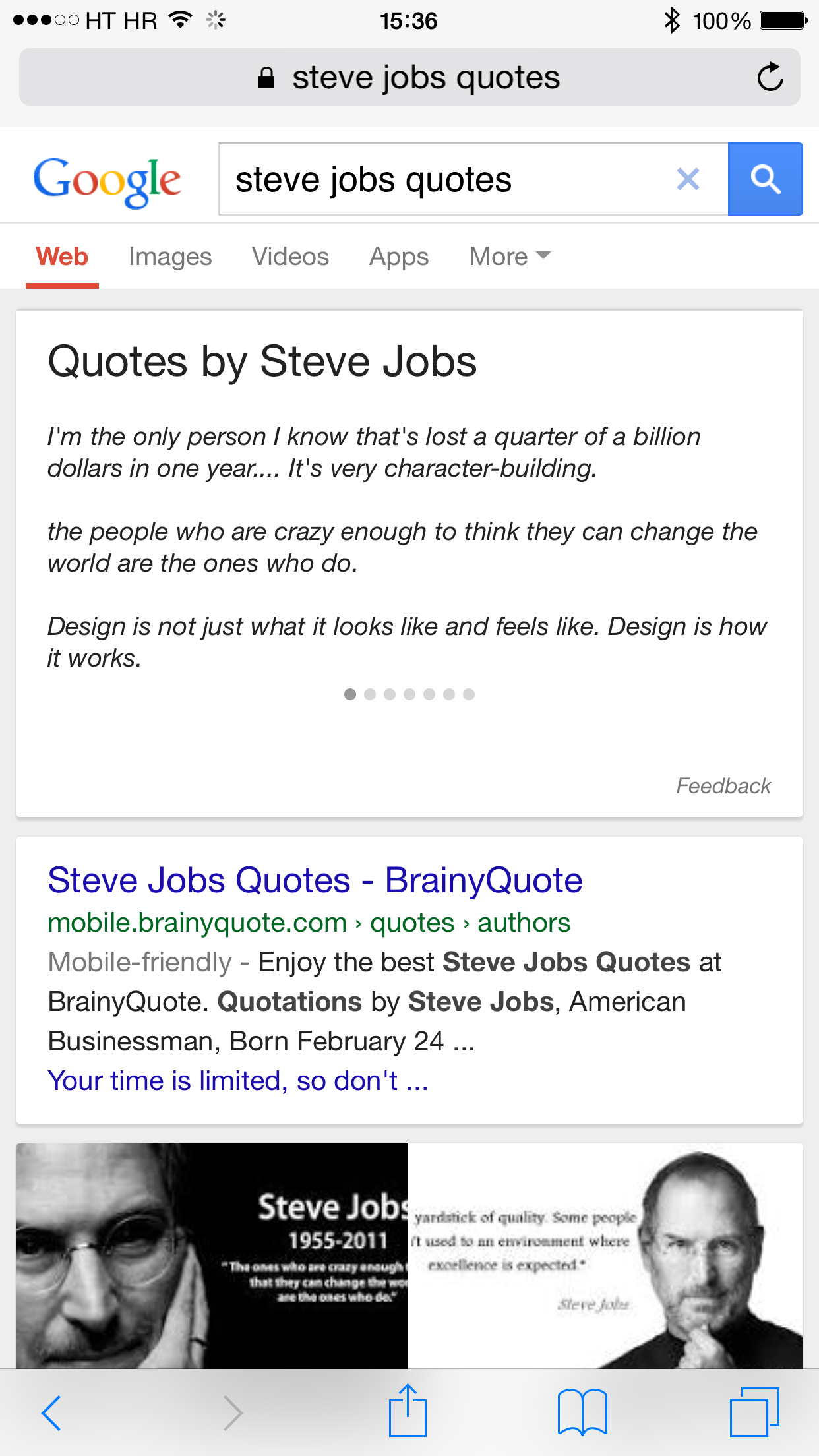 Google Search Quotes card on mobile