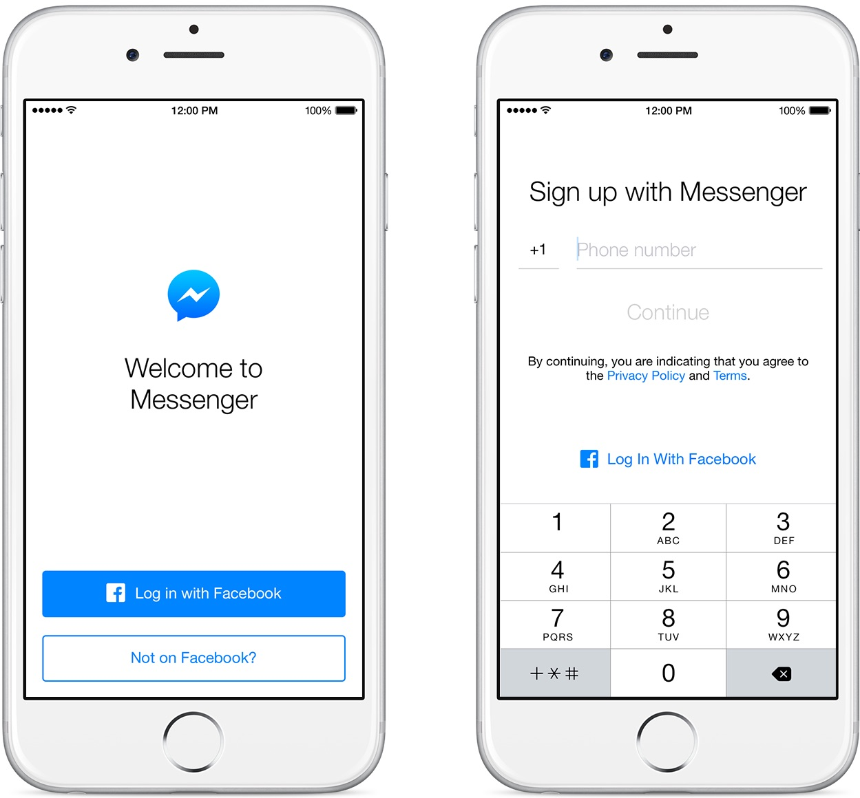 Messenger for iOS phone number sign up