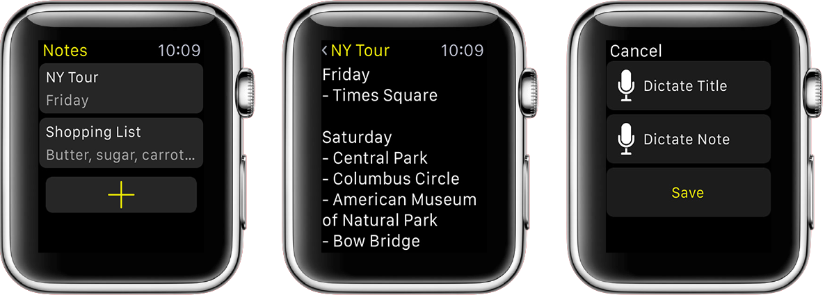 Notas para Apple Watch