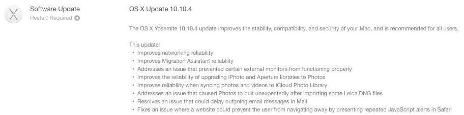 OS X 10.10.4 update prompt