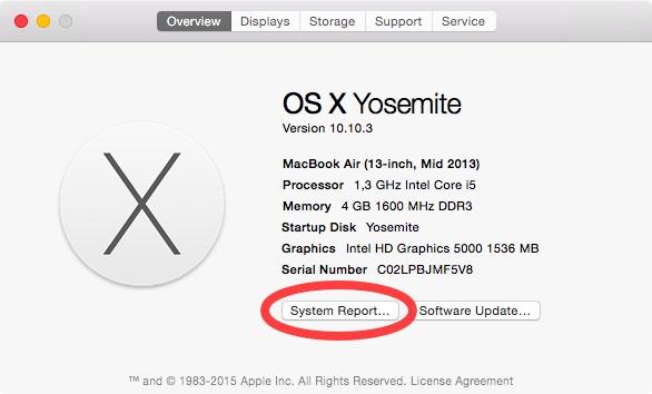 OS X Yosemite Acerca de este botón Mac Información del sistema resalte Captura de pantalla de Mac 001