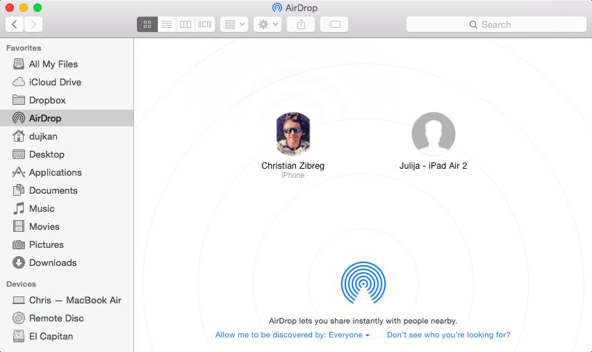 OS X Yosemite AirDrop window Mac captura de pantalla 001