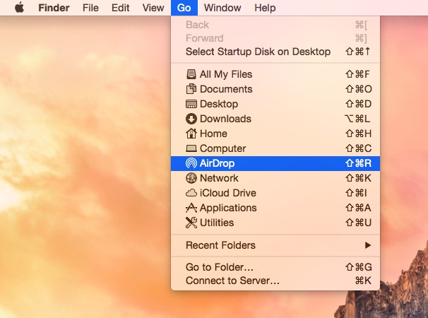 OS X Yosemite Finder Go Menu AirDrop selected Mac screenshot 001