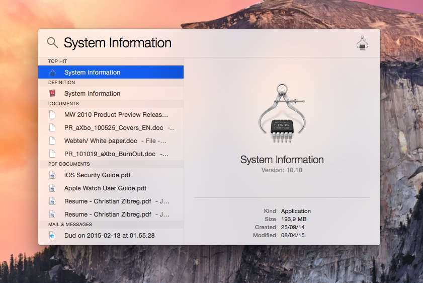 OS X Yosemite Spotlight System Information selected Mac screenshot 001