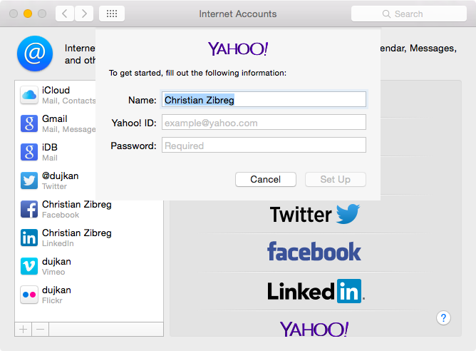 OS X Yosemite System Preferences add Yahoo Account