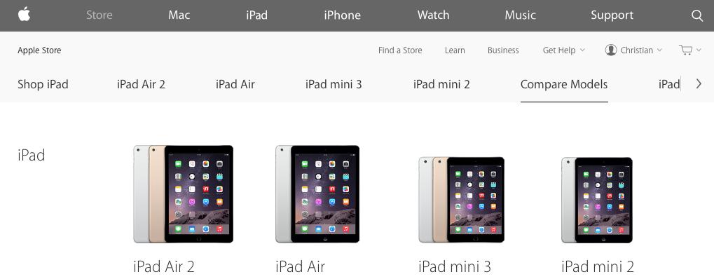Original iPad mini pulled from Apple Online Store web screenshot 001