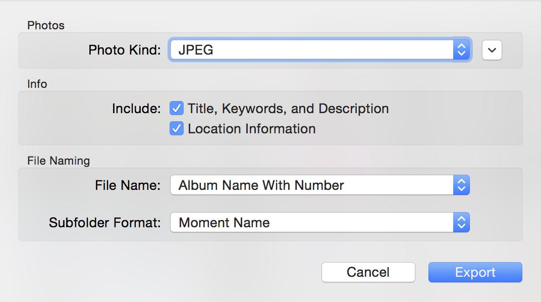 Aplicación de fotos Exportar Mac