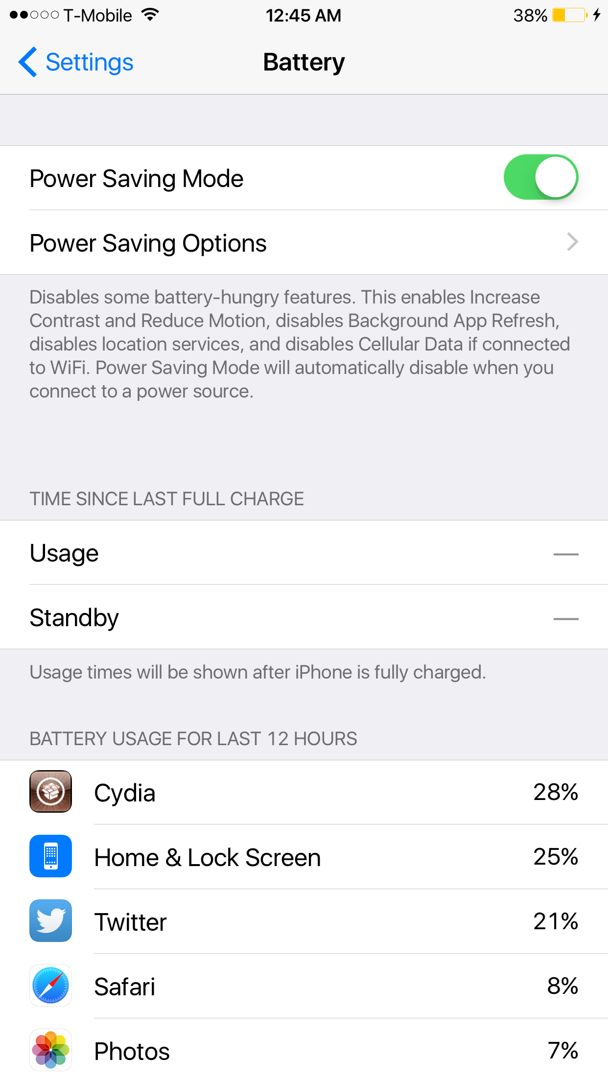 Power Saver Mode iOS 8.3