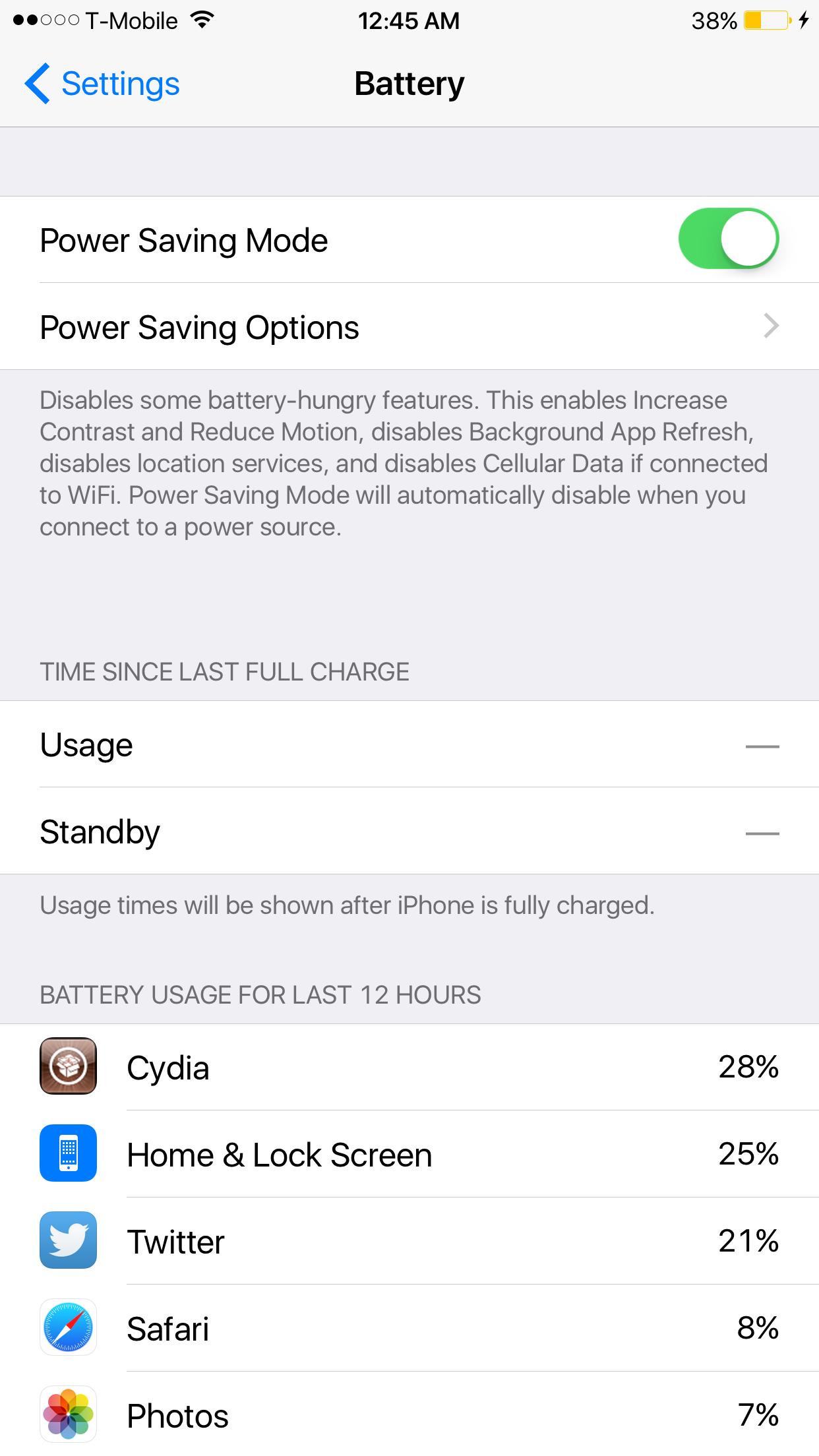 Power Saver Mode iOS 8.3