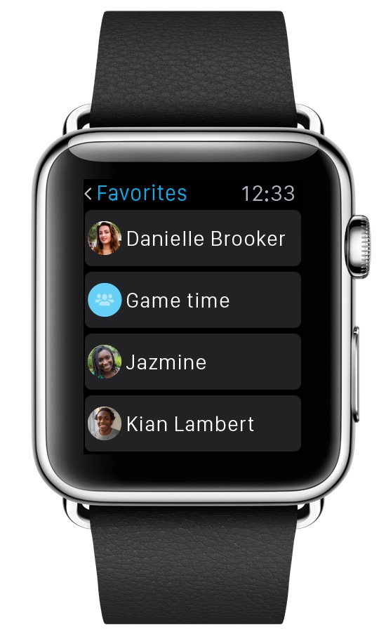 Skype for Apple Watch Favorite contacts