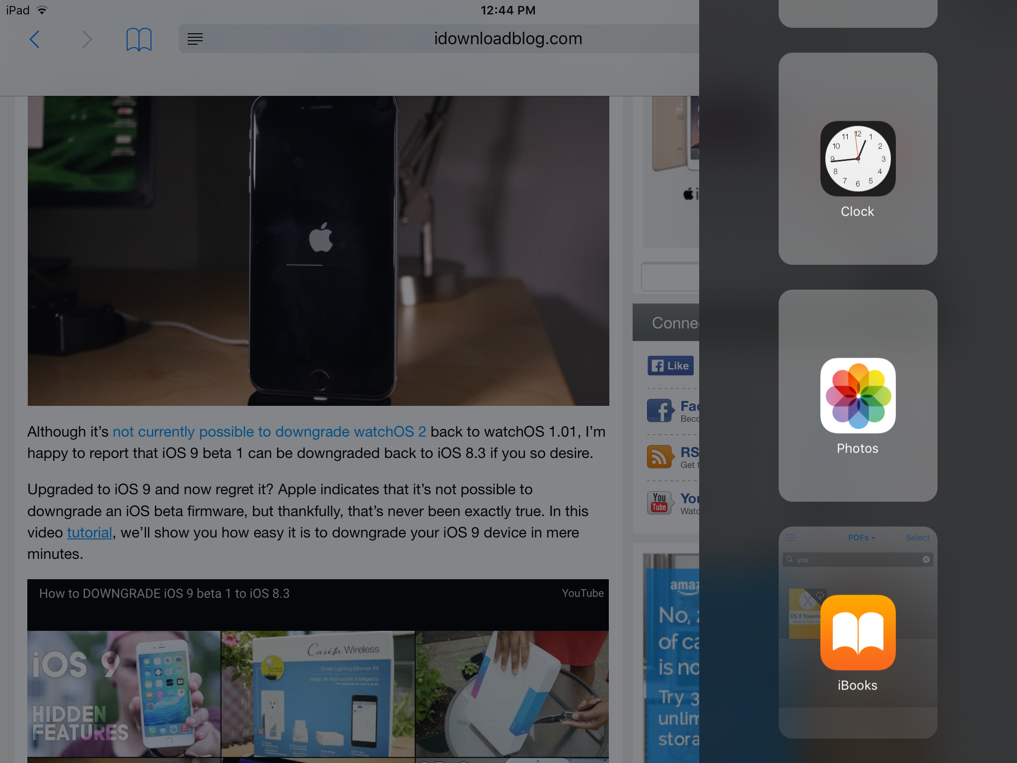 Slide Over App List iOS 9