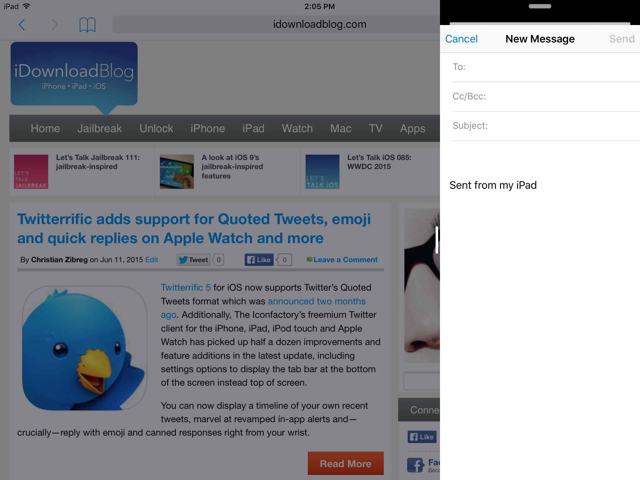 SlideOver iPad Air