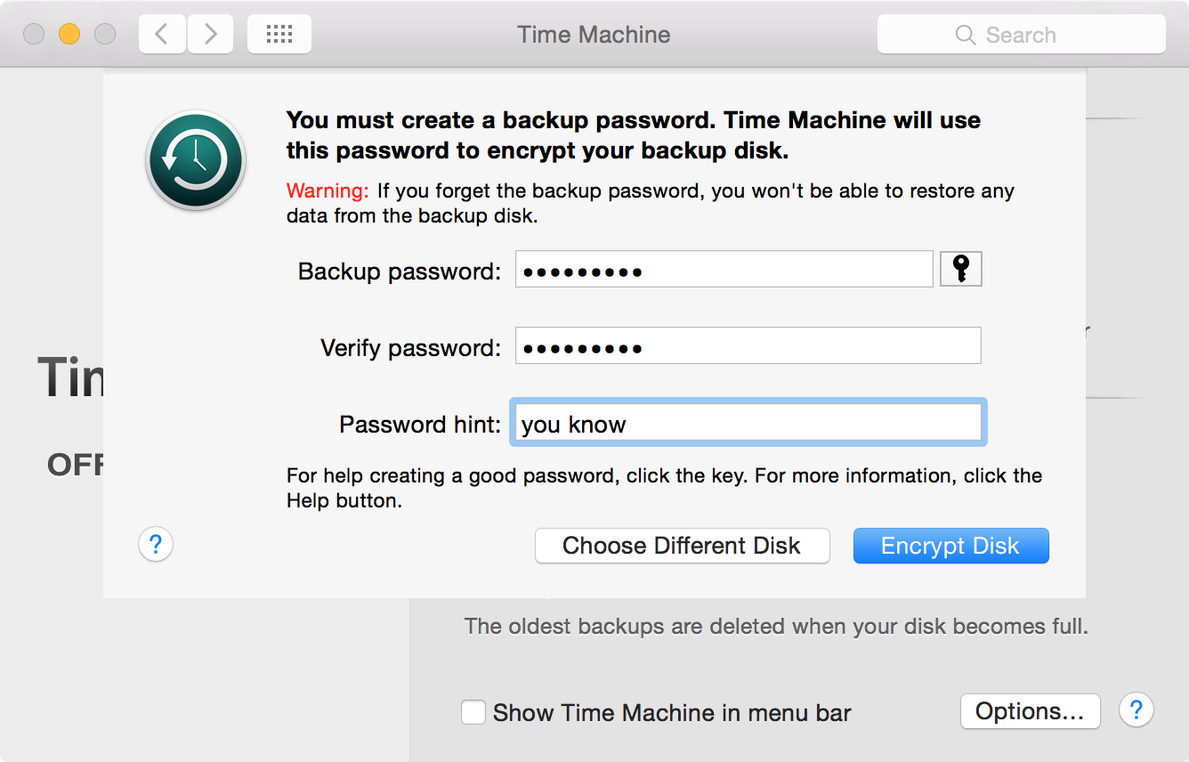 Time Machine Encrypt