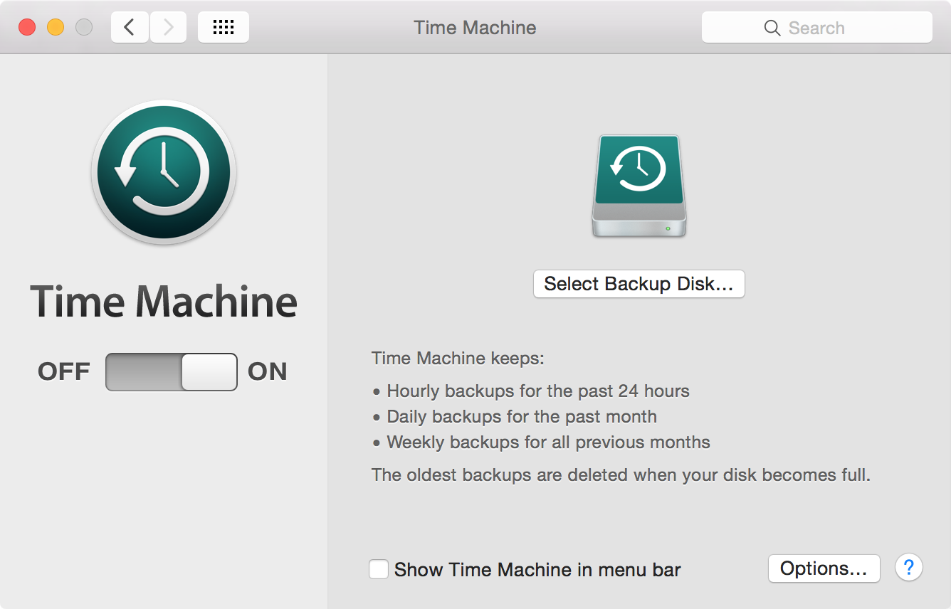 Time Machine OS X Preferences