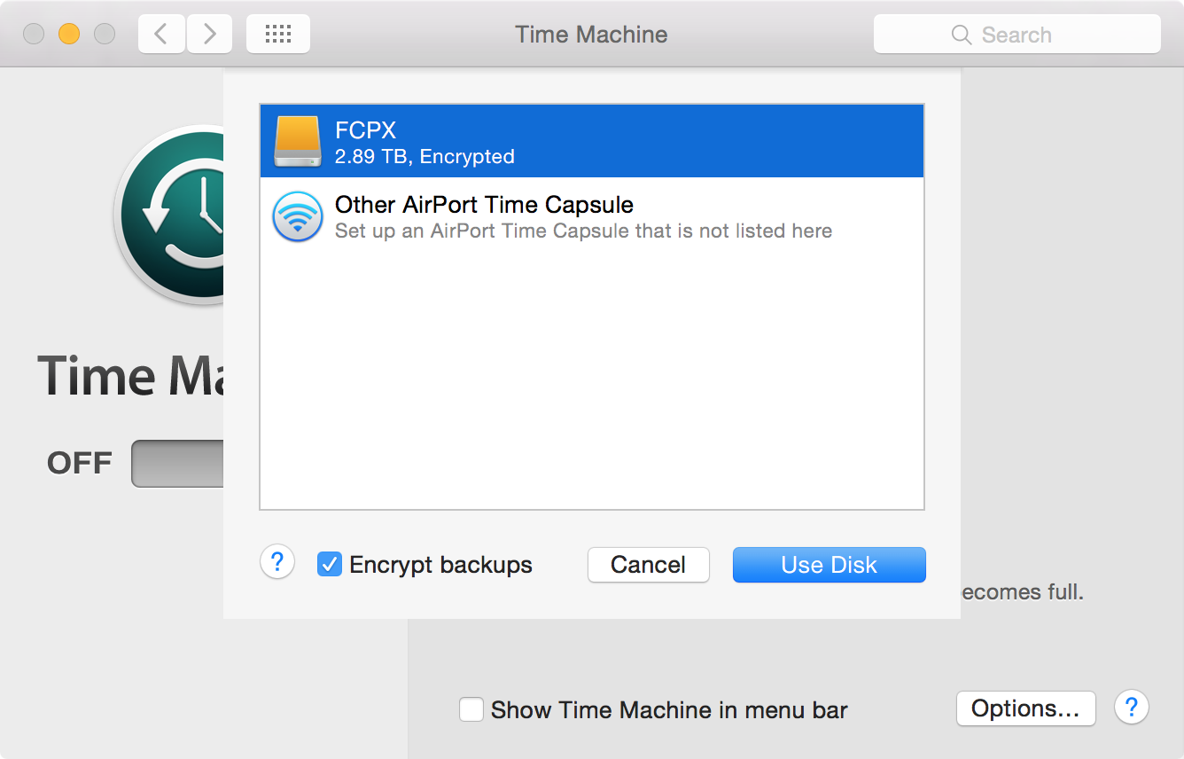 Time Machine Select Disk
