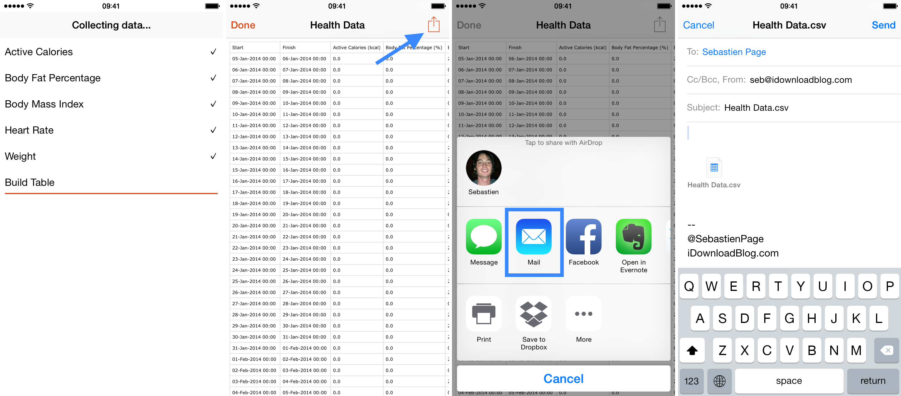 data exported from health app