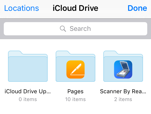 iCloud Drive document picker