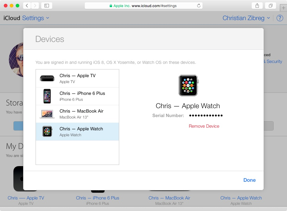 iCloud remove Apple Watch web screenshot 002
